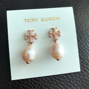 Tory Burch Rose Gold Pearl Drop Earrings